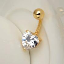 Piercing Coração De Umbigo De Aço Folheado A Ouro + Caixinha