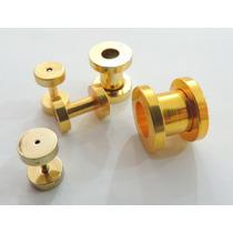 Alargador De 1mm A 10mm Em Aço Cirúrgico - Dourado