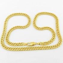 Corrente Masculina 45cm 6mm Largura Folheado Ouro - Cr495