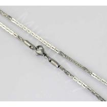 Cordão Masculino Elos Retangulares Aço Inox 3mm 90cm Prata