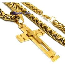 Corrente Grossa E Crucifixo Grande Em Aço Inox Unissex