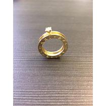 Anel Solitário Bulgari Em Ouro Amarelo 18k Com Diamante