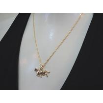 Folheado A Ouro - Corrente 40cm + Pingente Cavalo 1,5cm