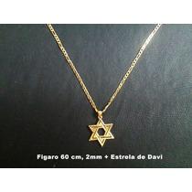 Corrente Figaro 2 Banhos Ouro 18k, 60cm 2mm, Estrela De Davi