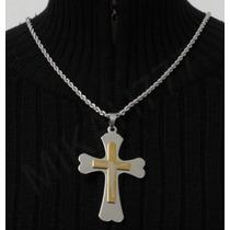 Conjunto Em Aço Inox Cordão Prata+ Pingente Crucifixo Natal
