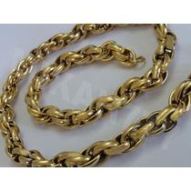 Corrente/cordão Masculino Aço Inox 316 L- Cor: Ouro11mmx65cm