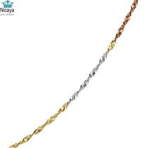 Nicaya Corrente Singapura 03 Tons Em Ouro 18k-750