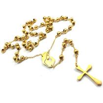 Terço Rosário Oração Aço Inox Banhado A Ouro 70cm Bolinha6mm