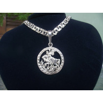Pingente Prata 950k Medalha Sao Jorge + Frete Grátis