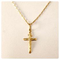 Crucifixo Pingente Cruz Com Cristo Masculino Ouro 18k Certif