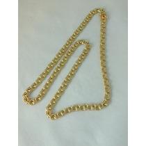 Cordão Oco Frisso Duplo Em Ouro 18k 750