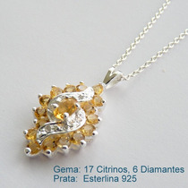 Corrente E Pingente Prata 925, Citrino, Diamante, Cód 7056
