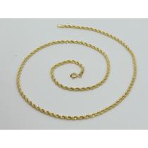 Corrente Colar Cordão Baiano 50cm Em Ouro 18k-750
