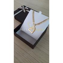 Cordão Feminino 45cm + Pingente Coração 12gramas Ouro18k