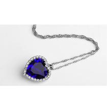 Corrente Cordão Colar Prata 950 K Com Cristal Azul- Promoçao