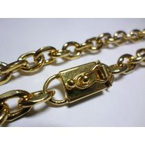 Cordão 9mm+pulseira+placa Banhadas A Ouro - Frete Grátis