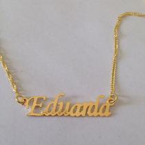 Colar Nome Eduarda Folheado A Ouro 18