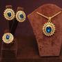 Corrente + Pingente Azul Brinco Ouro 18k + Pedras Austriacas