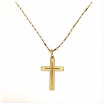 Cordão Corrente 60cm Pingente Crucifixo Joia Ouro 18k Certif