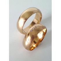 Aliança Fosca, Lisa Boleada 3 Diamantes. Em Ouro 18kl 750.