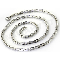 Cordão Masculino Retangulares Aço Inox 3mm 50cm
