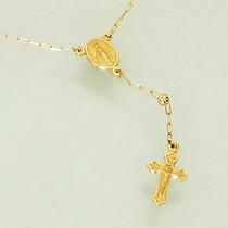 Colar Terço Rosario Em Ouro 18k 750 Cartier 45cm Feminino