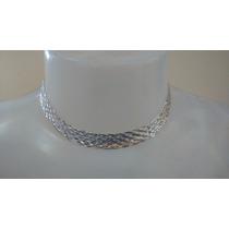 Corrente,gargantilha De Prata - Trança 8 Fios -925- Feminina