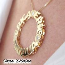 Pingente Mandala E Corrente Ouro 18k Personalizado Diamantes