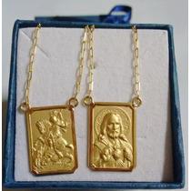 Escapulário São Jorge Em Ouro 18k 1,6 Cm Médio 3,1gr