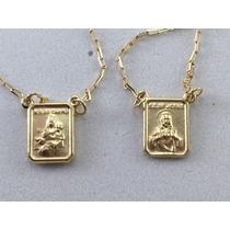 Swjoias Escapulario Ouro 18k 750 N.s Do Carmo E S.c De Jesus