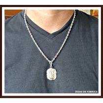 Pingente Cordão Corrente Rosto De Cristo Em Prata 950