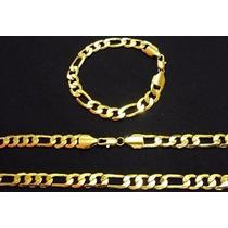 Conjunto Cordão Pulseira Folheado Ouro 24k 60cm C/certificad