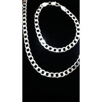 Colar Masculino Folheado Prata+pulseira Folheado A Prata