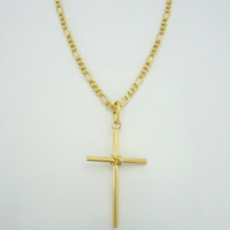 Corrente Folheada A Ouro 18kl Com Pingente Crucifixo