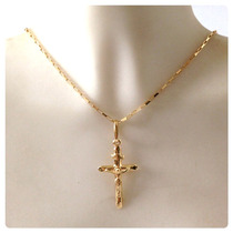 Cordão Corrente 60cm Ping Crucifixo Masculino 18k Certificad