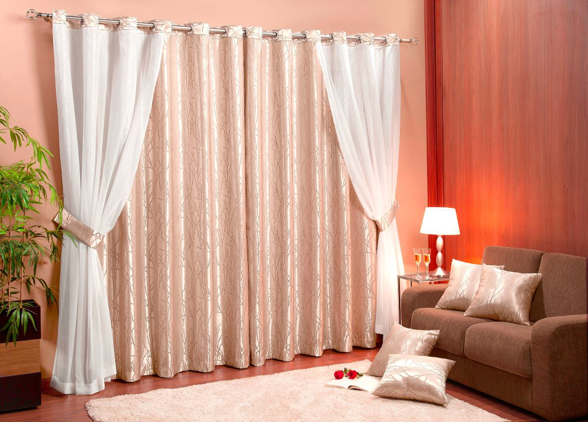 Cortina bahamas 3m jacquard e voil kit almofadas var o for Ultimas tendencias en cortinas para salon