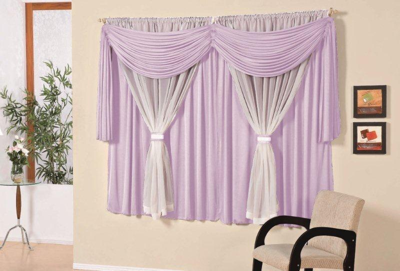 decoracao de sala lilas : decoracao de sala lilas:Cortina Para Sala Larissa Lilás 4m X 2,8m -varão Simples – R$ 168,00