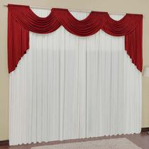 Cortina Para Sala Veneza Vermelha Branca 3mx2,8m Varão Duplo