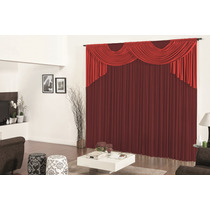 Cortina Para Sala Esmeralda Vermelho Vinho 3,0m X 2,80m