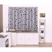 Cortina Cozinha Galinha 2mx1,5m Tecido Voal - Varão Simples