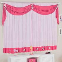 Cortina Para Sala Infantil Margarida Rosa Pink 2,00m X 1,70m
