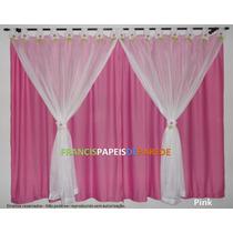 Cortina Fuxico Flor Voil Jersey Infantil Rosa Pink Flores