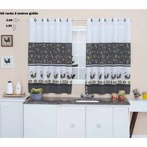 Cortina De Cozinha 2,00 X 1,50-- Com Kit Varão Grátis