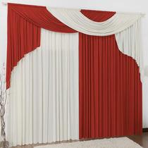 Cortina Elegance Vermelha Branco 4m X 2,8m - Varão Duplo