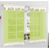 Cortina Cozinha Verde Em Voil Com Renda 2m X 1,6m