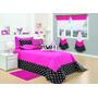 Kit Fashion Cobre Leito Solteiro Box 7 Pçs Pink/pret Meninas