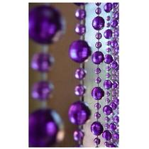 Cortina De Miçangas E Contas Acrilicas Cristal Lilás