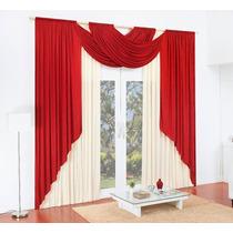 Cortina Para Sala Vermelha 3,00x2,50 C/ Bandô Para Varão