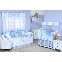 Cortina 1pç Meu Reizinho Azul Bebê + Porta Fraldas 2pçs Ac