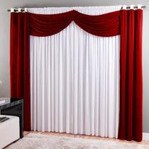 Cortina Para Sala Dubai Malha 3,00 X 2,50 Vermelha - Sultan